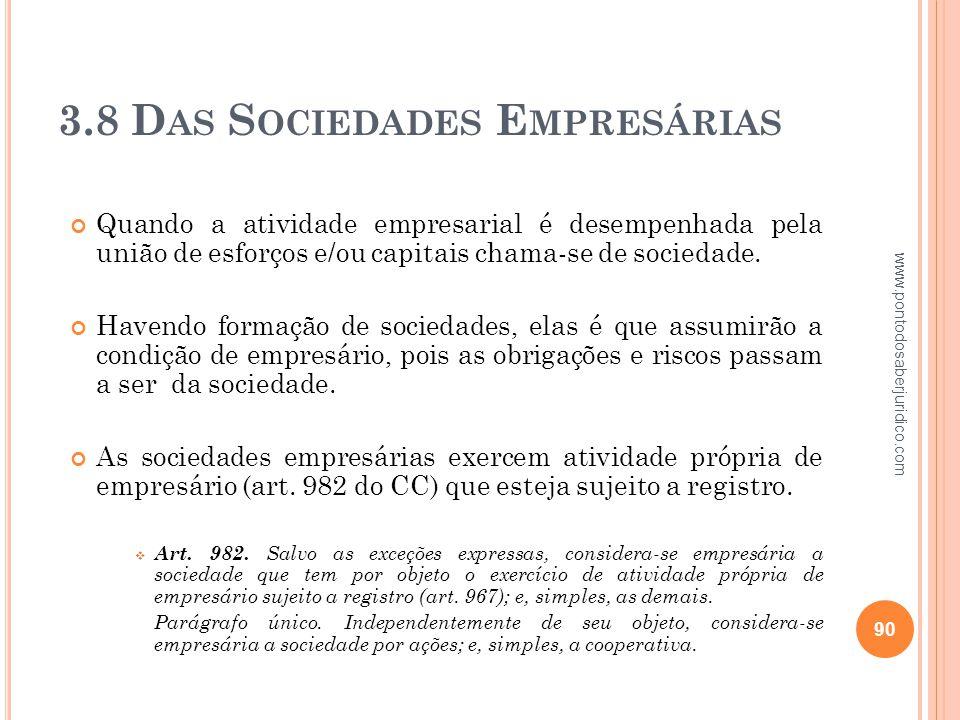 3.8 Das Sociedades Empresárias