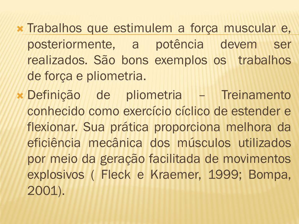 Trabalhos que estimulem a força muscular e, posteriormente, a potência devem ser realizados. São bons exemplos os trabalhos de força e pliometria.
