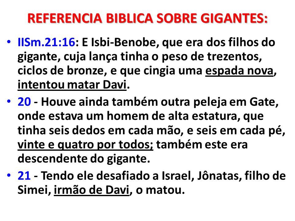 REFERENCIA BIBLICA SOBRE GIGANTES: