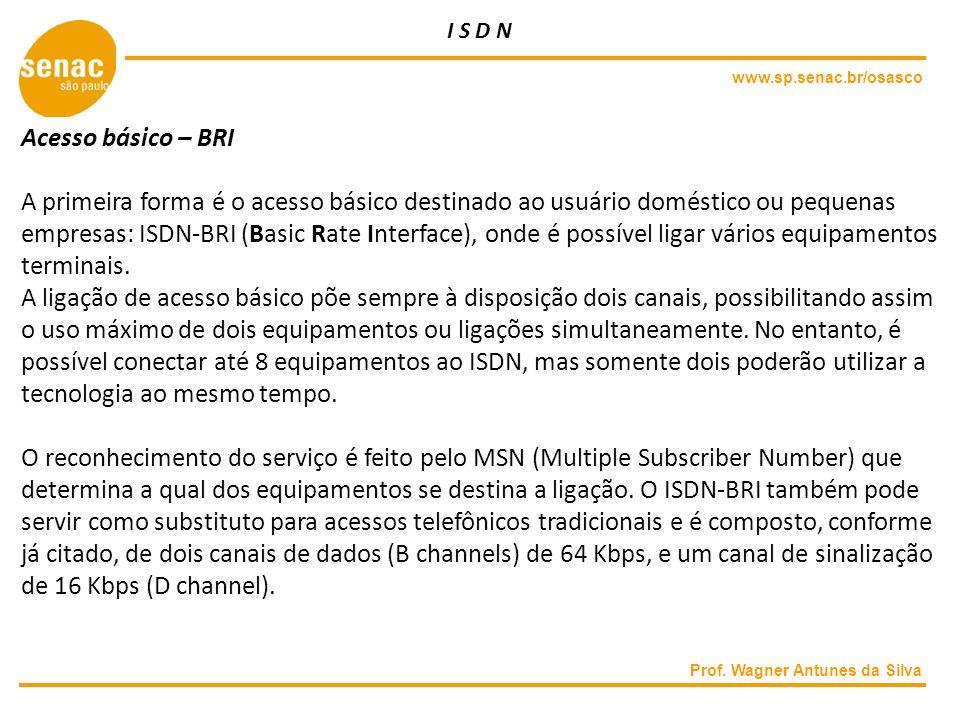 I S D N www.sp.senac.br/osasco. Acesso básico – BRI.