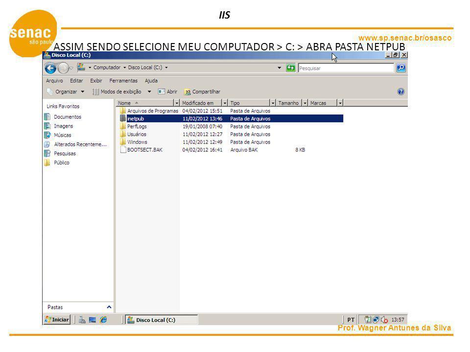 ASSIM SENDO SELECIONE MEU COMPUTADOR > C: > ABRA PASTA NETPUB