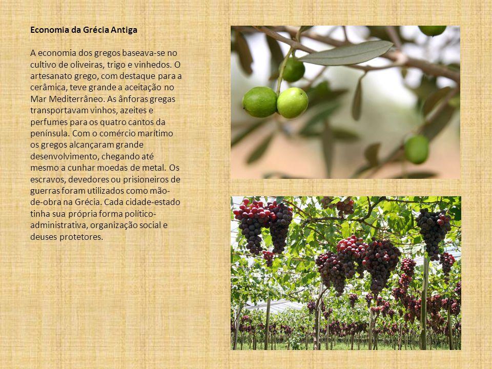 Economia da Grécia Antiga A economia dos gregos baseava-se no cultivo de oliveiras, trigo e vinhedos.