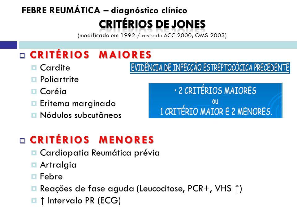 CRITÉRIOS DE JONES (modificado em 1992 / revisado ACC 2000, OMS 2003)