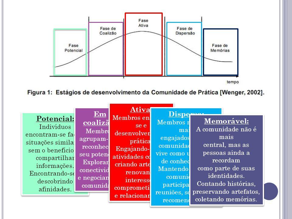 Em coalizão: Membros agrupam-se e reconhecem seu potencial. Dispersa: