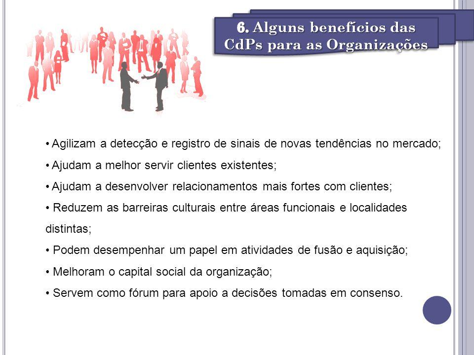 6. Alguns benefícios das CdPs para as Organizações