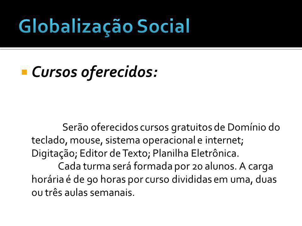 Globalização Social Cursos oferecidos: