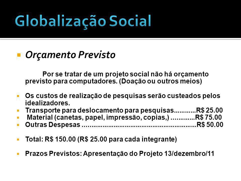 Globalização Social Orçamento Previsto