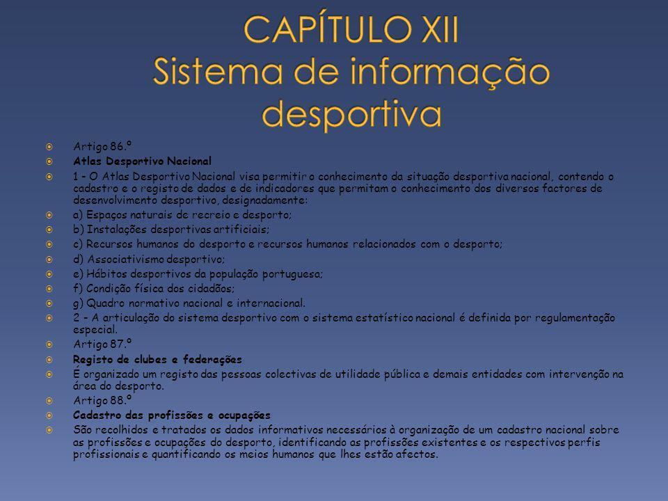 CAPÍTULO XII Sistema de informação desportiva