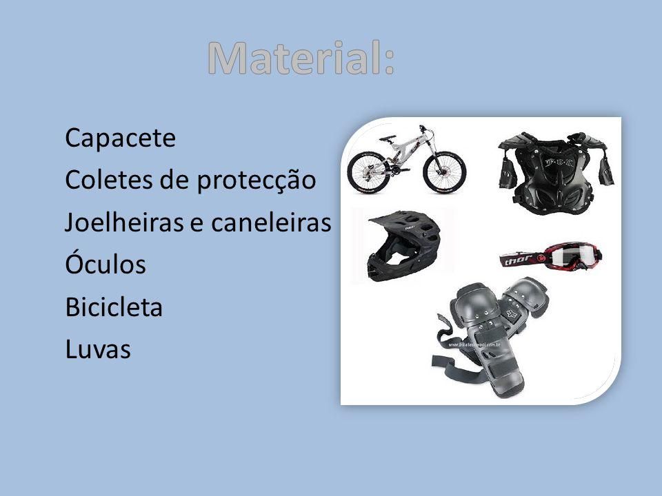 Material: Capacete Coletes de protecção Joelheiras e caneleiras Óculos Bicicleta Luvas