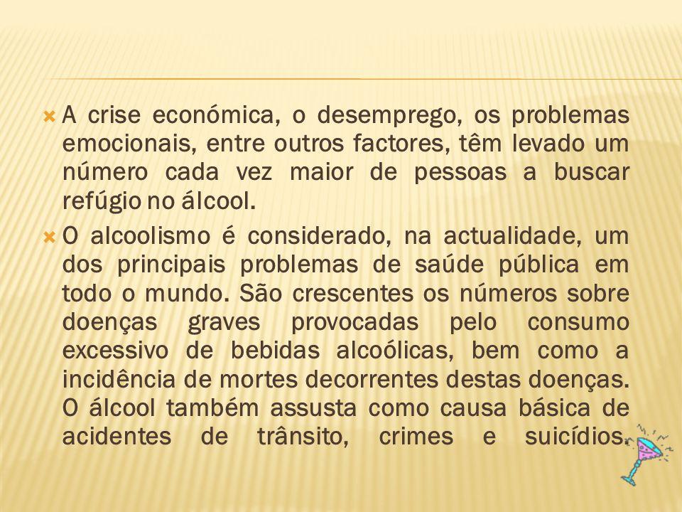 A crise económica, o desemprego, os problemas emocionais, entre outros factores, têm levado um número cada vez maior de pessoas a buscar refúgio no álcool.