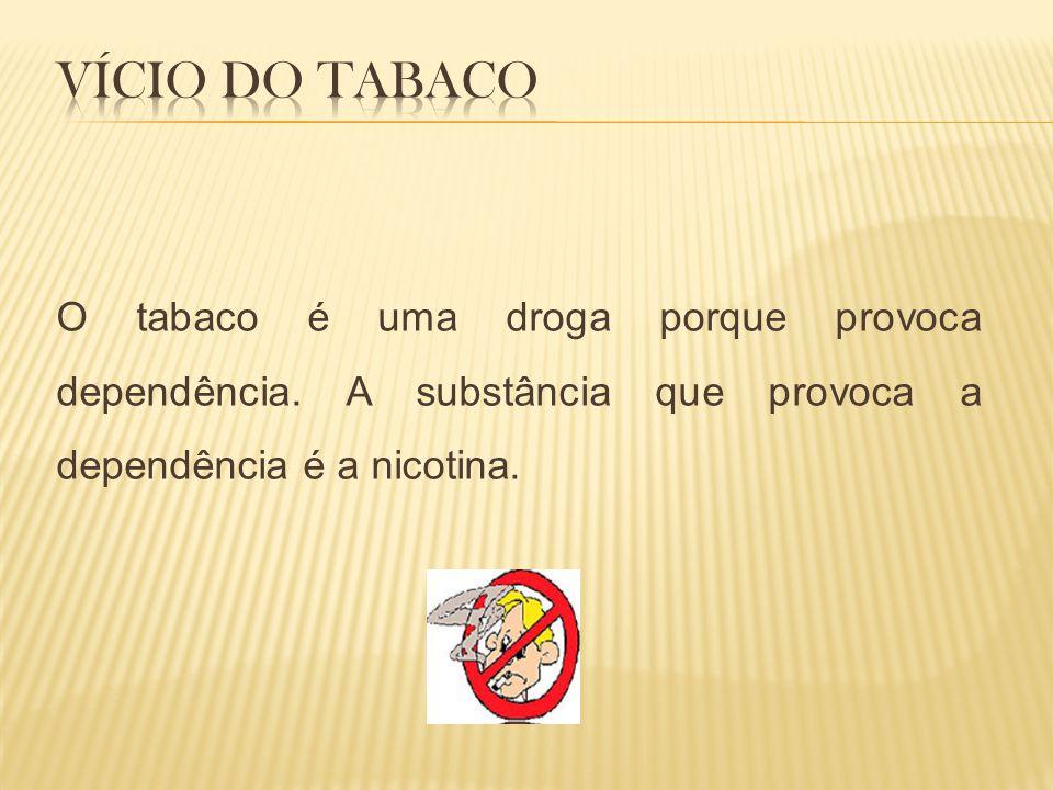 Vício do Tabaco O tabaco é uma droga porque provoca dependência.