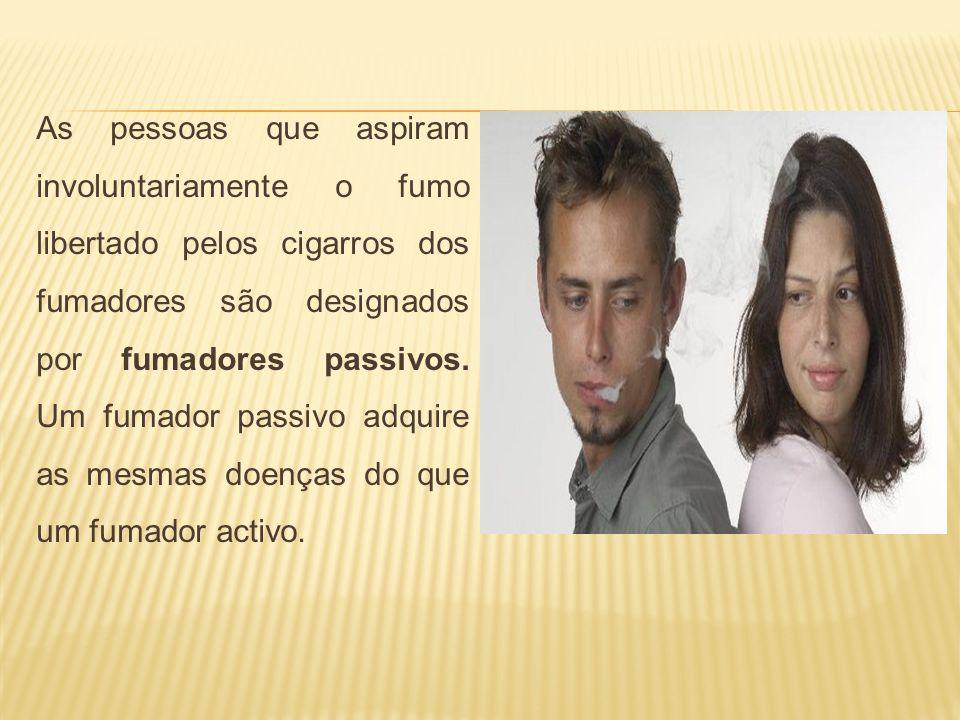 As pessoas que aspiram involuntariamente o fumo libertado pelos cigarros dos fumadores são designados por fumadores passivos.