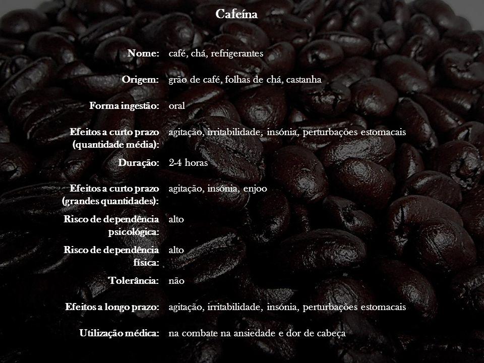 Cafeína Nome: café, chá, refrigerantes Origem: