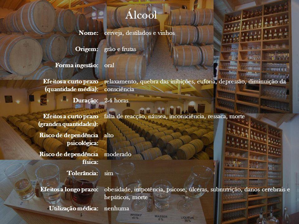 Álcool Nome: cerveja, destilados e vinhos Origem: grão e frutas