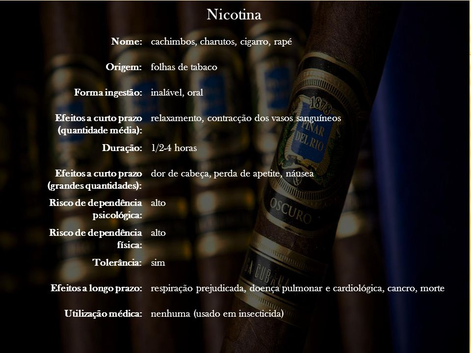 Nicotina Nome: cachimbos, charutos, cigarro, rapé Origem: