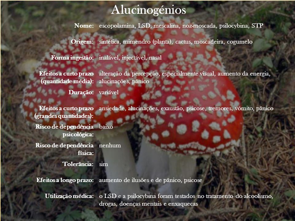 Alucinogénios Nome: escopolamina, LSD, mescalina, noz-moscada, psilocybina, STP. Origem: