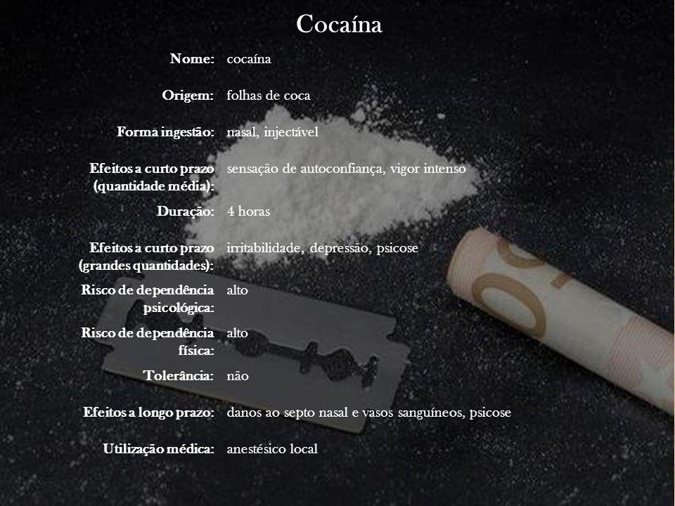 Cocaína Nome: cocaína Origem: folhas de coca Forma ingestão:
