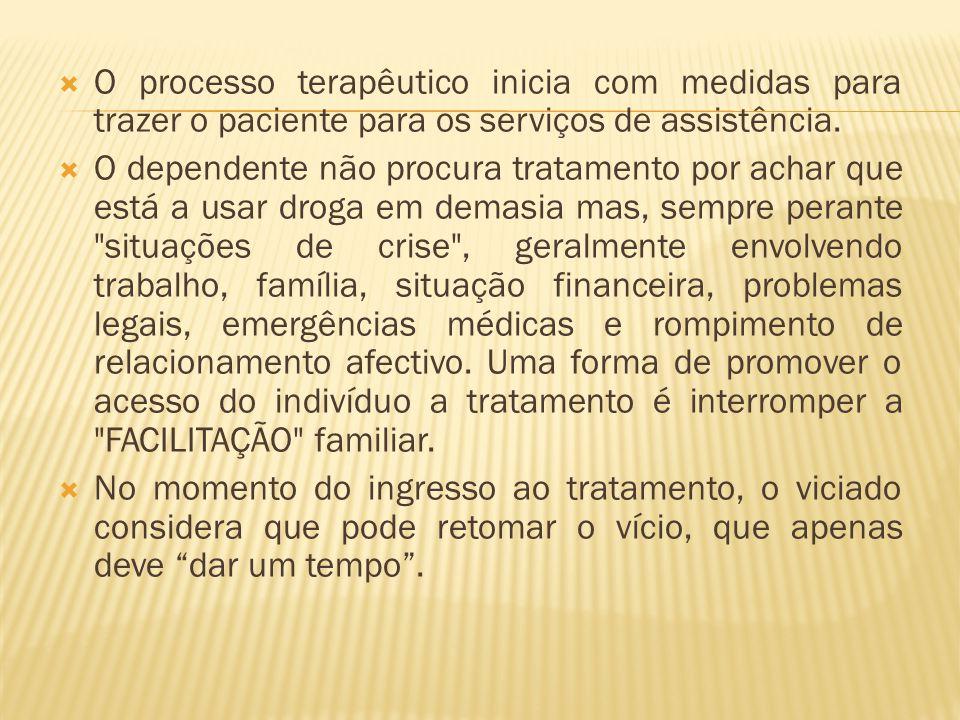 O processo terapêutico inicia com medidas para trazer o paciente para os serviços de assistência.