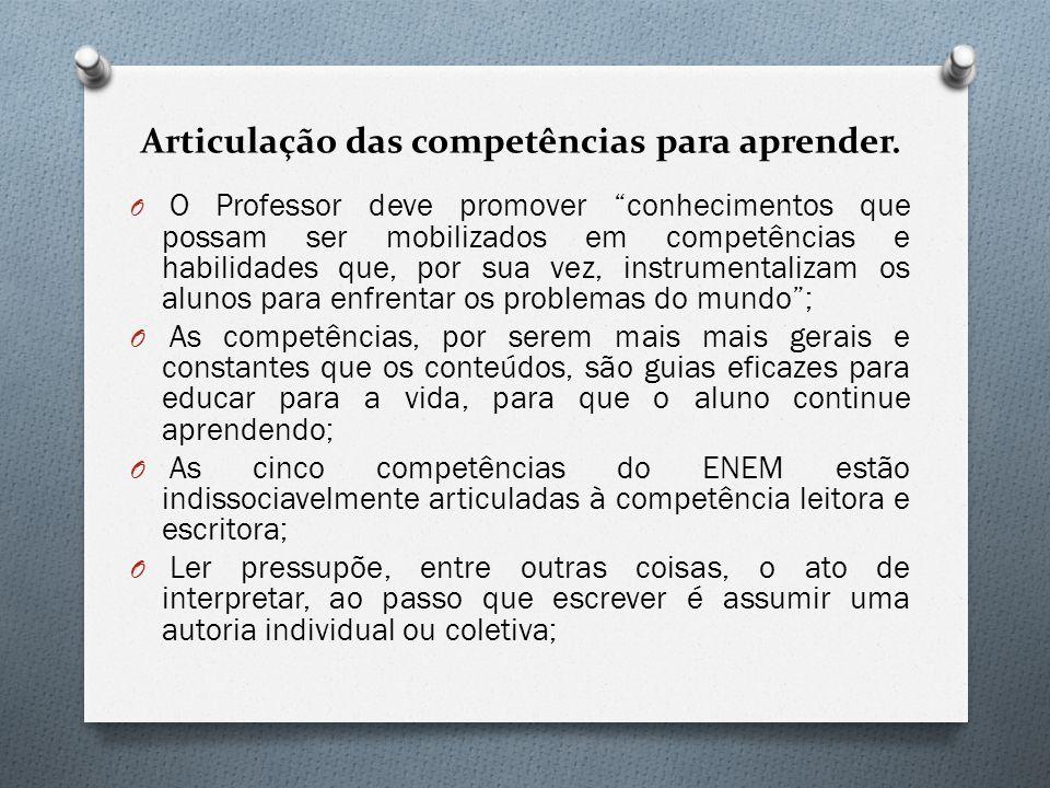 Articulação das competências para aprender.