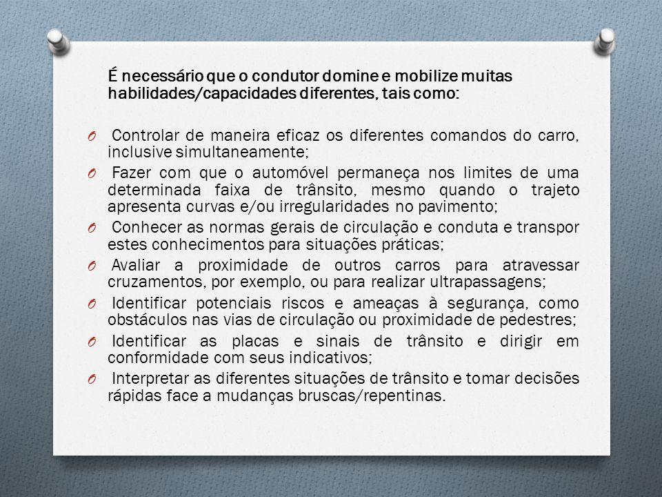 É necessário que o condutor domine e mobilize muitas habilidades/capacidades diferentes, tais como: