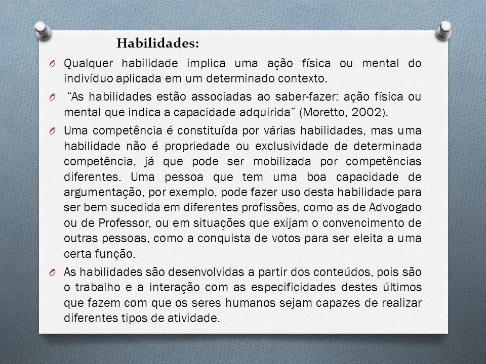 Habilidades: Qualquer habilidade implica uma ação física ou mental do indivíduo aplicada em um determinado contexto.