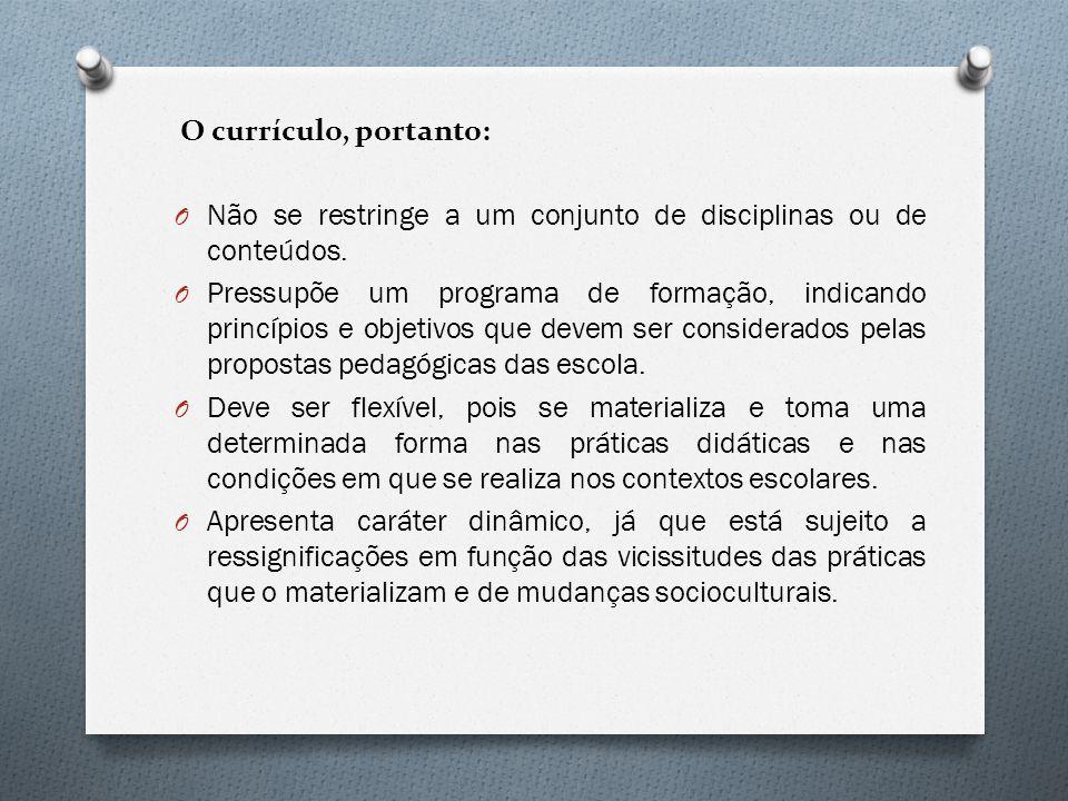 O currículo, portanto: Não se restringe a um conjunto de disciplinas ou de conteúdos.