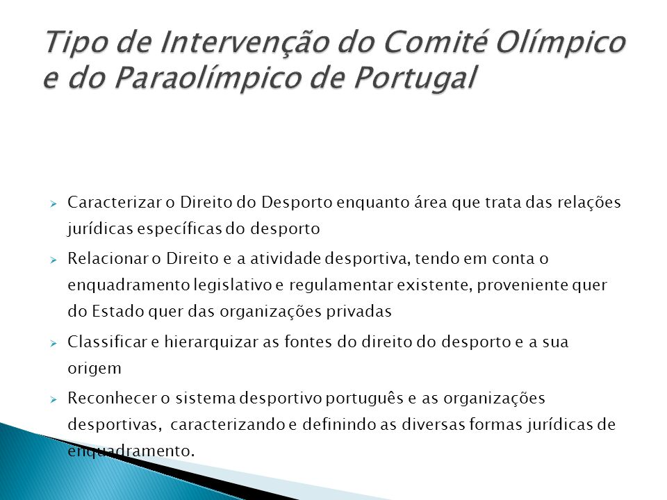 Tipo de Intervenção do Comité Olímpico e do Paraolímpico de Portugal