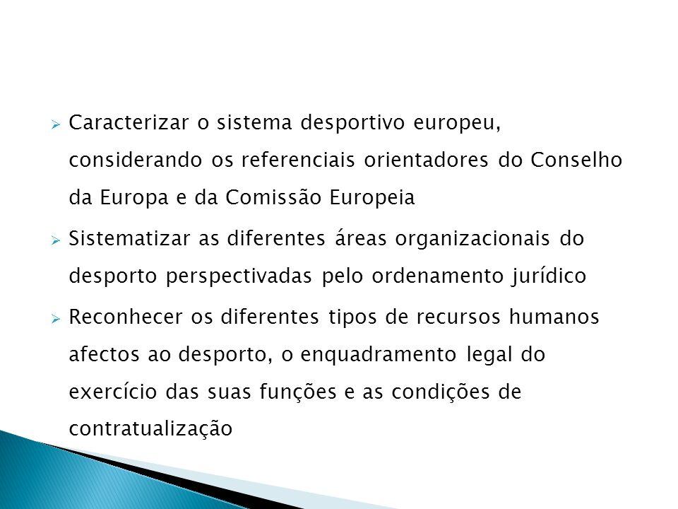 Caracterizar o sistema desportivo europeu, considerando os referenciais orientadores do Conselho da Europa e da Comissão Europeia