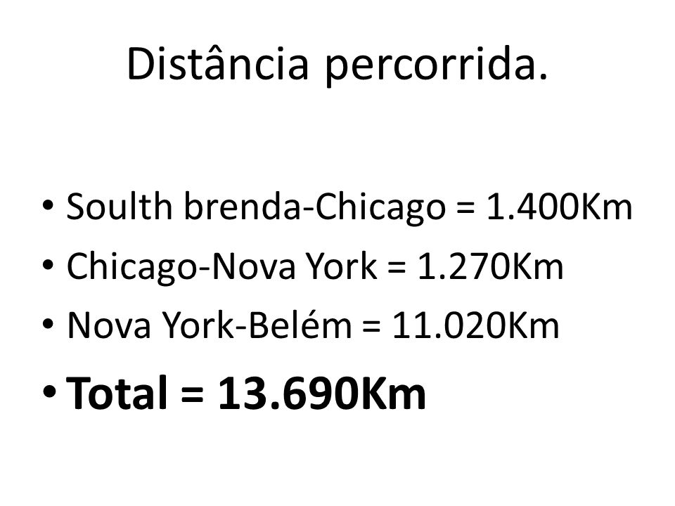 Distância percorrida. Total = 13.690Km Soulth brenda-Chicago = 1.400Km
