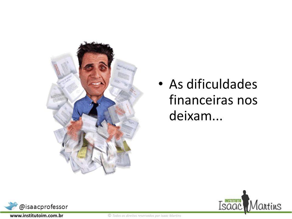 As dificuldades financeiras nos deixam...