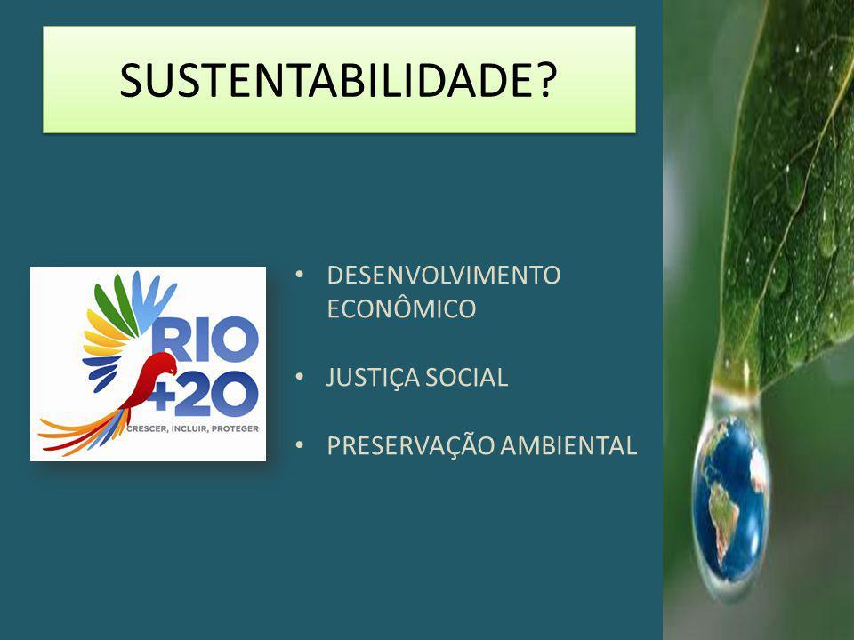 SUSTENTABILIDADE DESENVOLVIMENTO ECONÔMICO JUSTIÇA SOCIAL