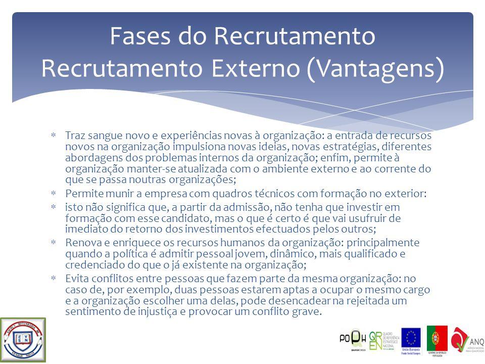 Fases do Recrutamento Recrutamento Externo (Vantagens)