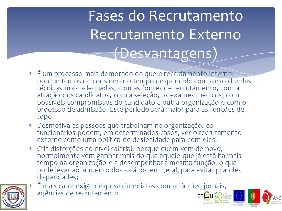 Fases do Recrutamento Recrutamento Externo (Desvantagens)