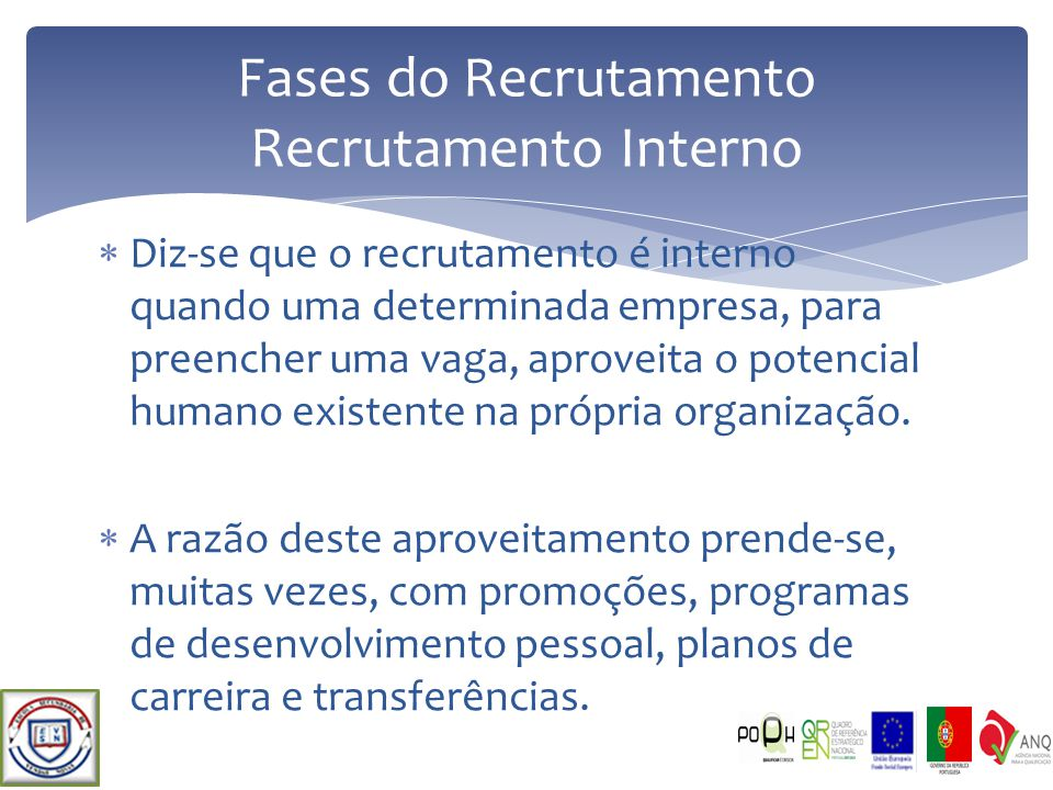 Fases do Recrutamento Recrutamento Interno
