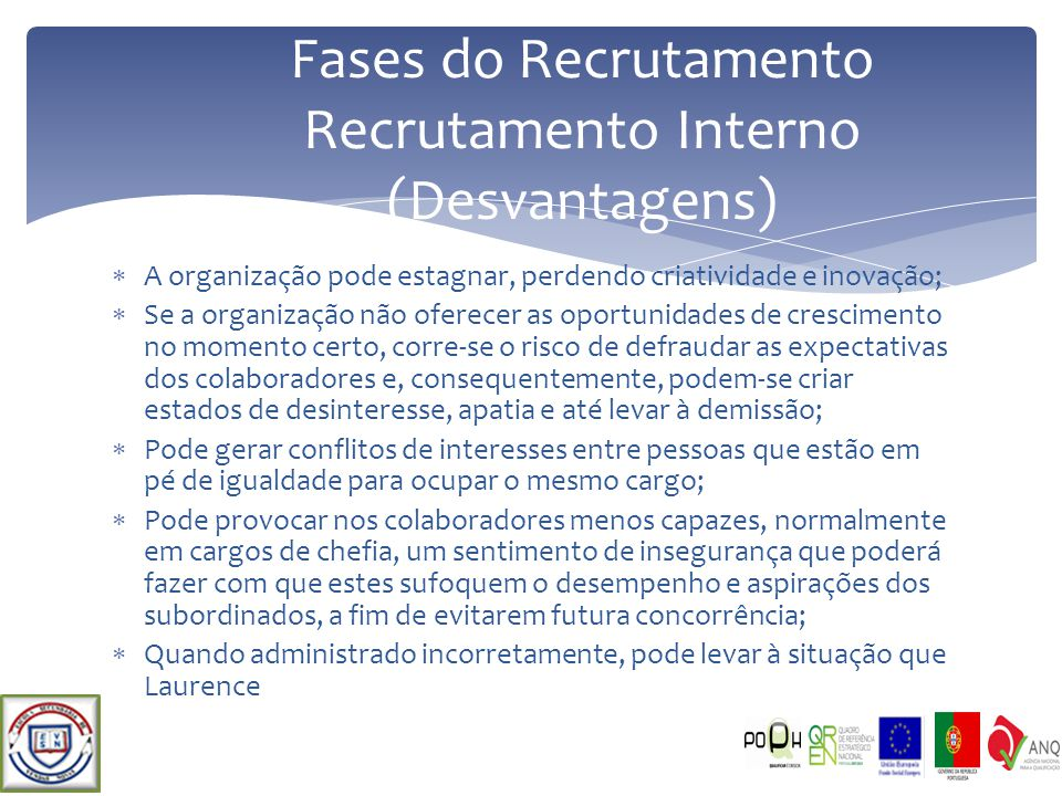 Fases do Recrutamento Recrutamento Interno (Desvantagens)