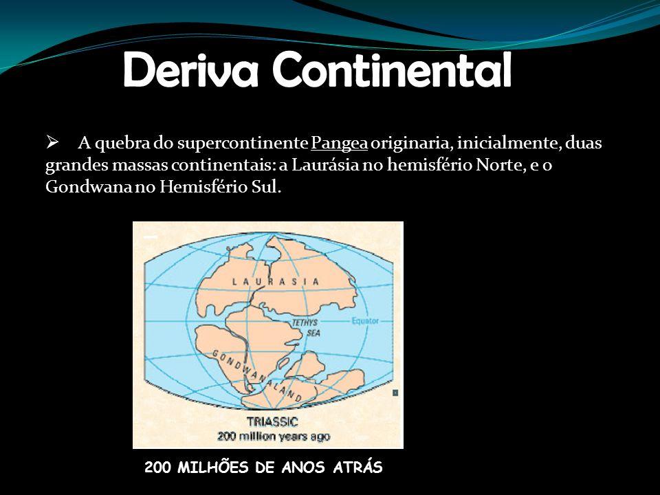 Deriva Continental A quebra do supercontinente Pangea originaria, inicialmente, duas.