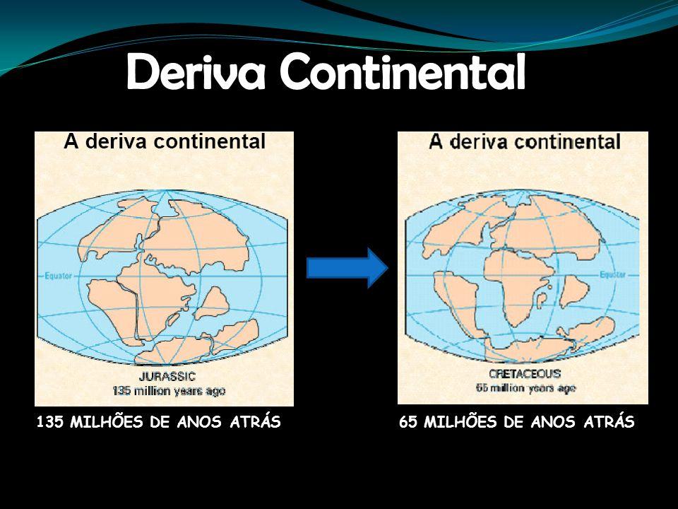 Deriva Continental 135 MILHÕES DE ANOS ATRÁS 65 MILHÕES DE ANOS ATRÁS