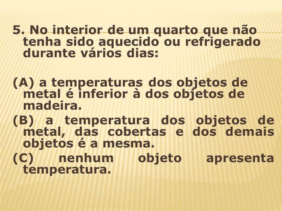 5. No interior de um quarto que não tenha sido aquecido ou refrigerado durante vários dias:
