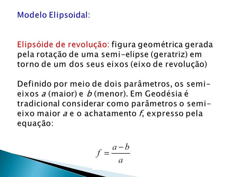 Modelo Elipsoidal: Elipsóide de revolução: figura geométrica gerada pela rotação de uma semi-elipse (geratriz) em torno de um dos seus eixos (eixo de revolução) Definido por meio de dois parâmetros, os semi-eixos a (maior) e b (menor).
