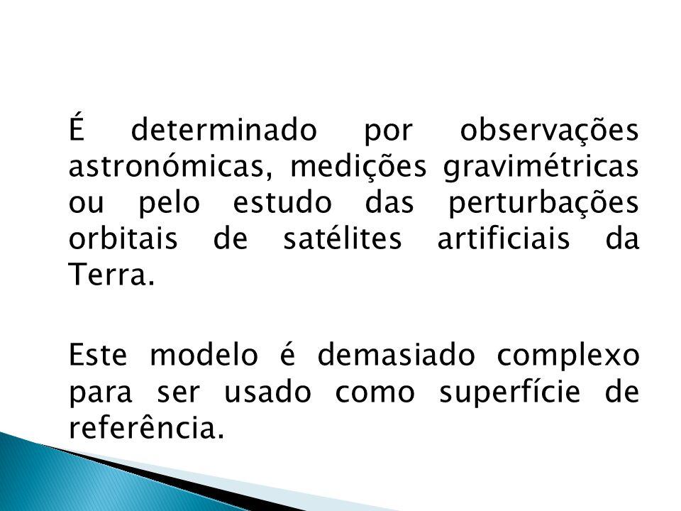 É determinado por observações astronómicas, medições gravimétricas ou pelo estudo das perturbações orbitais de satélites artificiais da Terra.