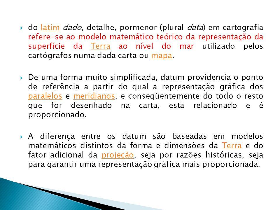 do latim dado, detalhe, pormenor (plural data) em cartografia refere-se ao modelo matemático teórico da representação da superfície da Terra ao nível do mar utilizado pelos cartógrafos numa dada carta ou mapa.