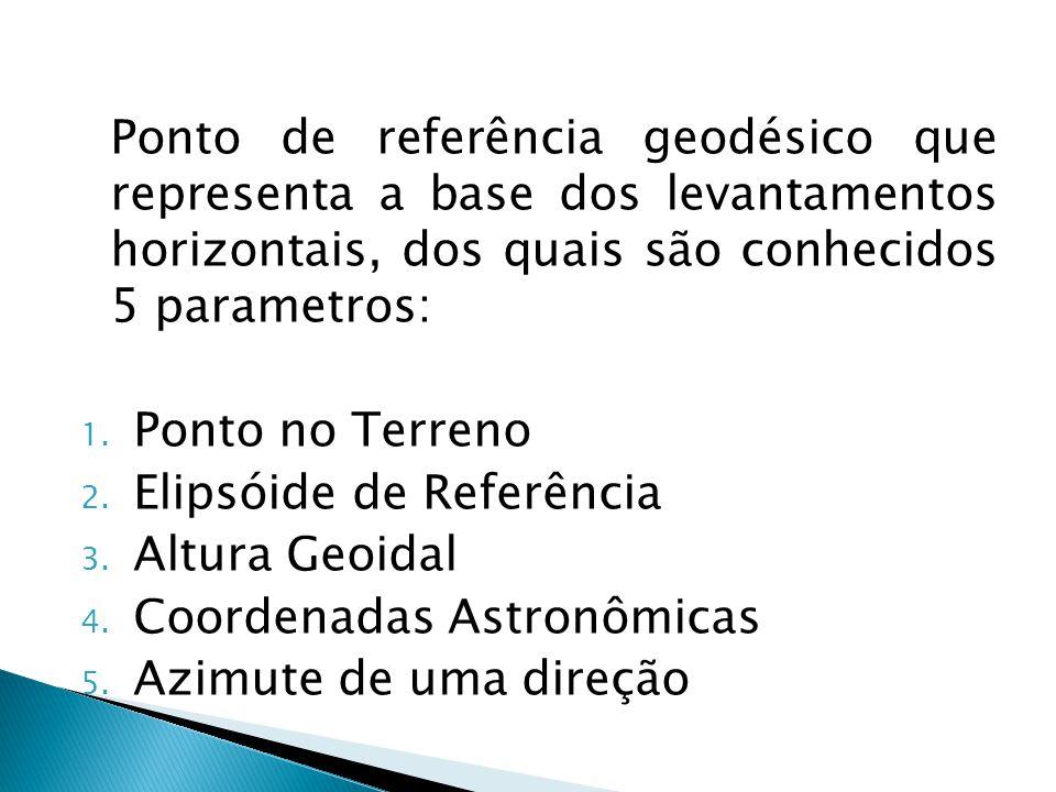 Ponto de referência geodésico que representa a base dos levantamentos horizontais, dos quais são conhecidos 5 parametros: