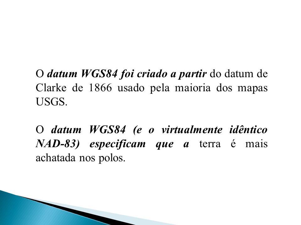 O datum WGS84 foi criado a partir do datum de Clarke de 1866 usado pela maioria dos mapas USGS.