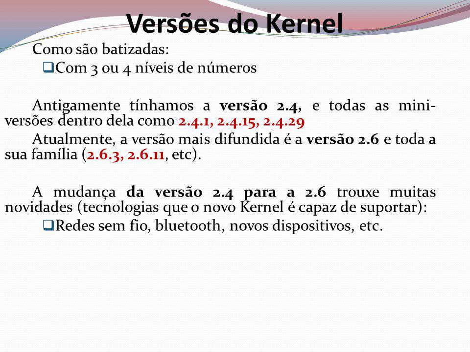 Versões do Kernel Como são batizadas: Com 3 ou 4 níveis de números
