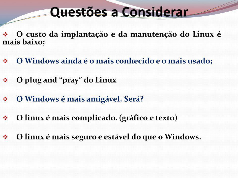 Questões a Considerar O custo da implantação e da manutenção do Linux é mais baixo; O Windows ainda é o mais conhecido e o mais usado;