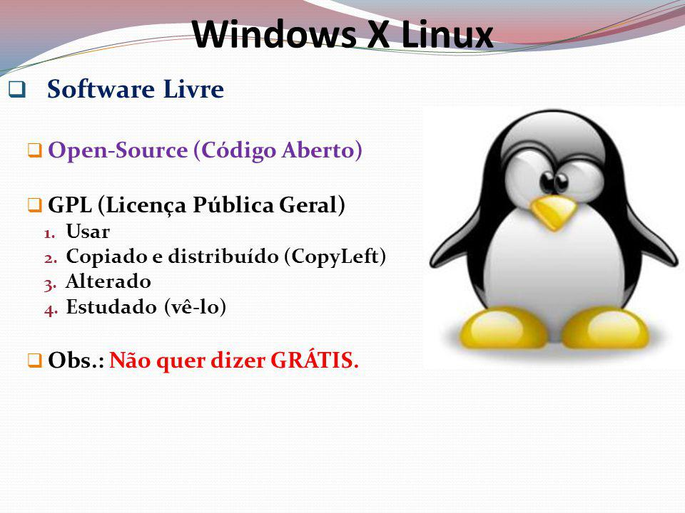 Windows X Linux Software Livre Open-Source (Código Aberto)