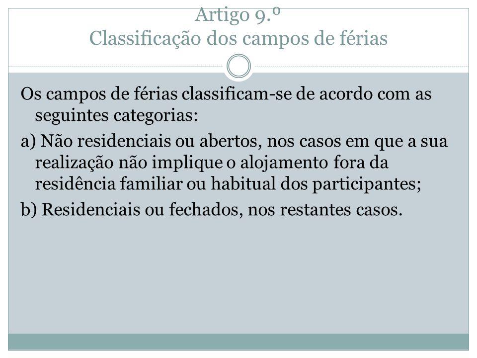Artigo 9.º Classificação dos campos de férias
