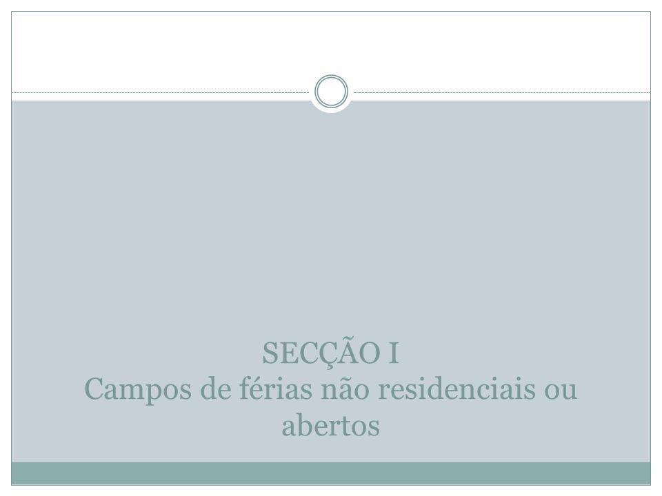 SECÇÃO I Campos de férias não residenciais ou abertos
