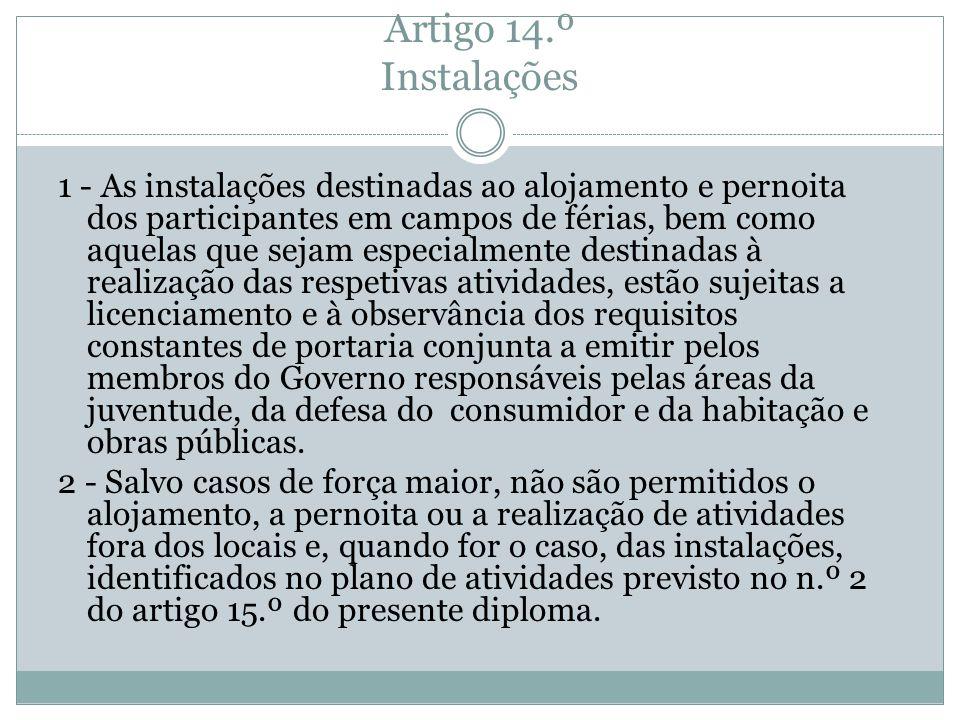 Artigo 14.º Instalações