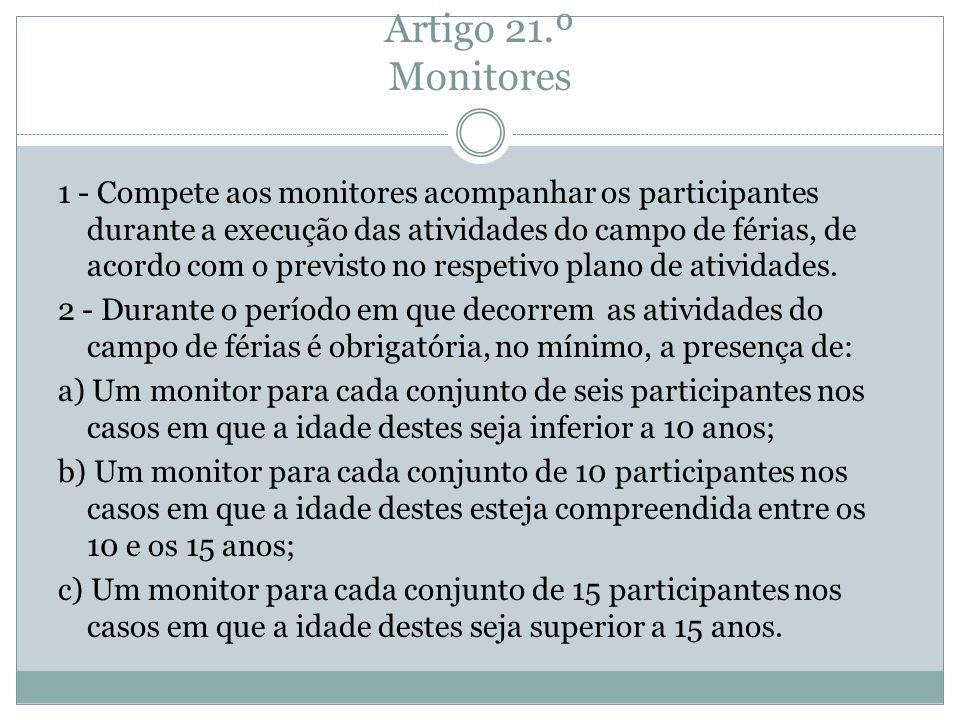 Artigo 21.º Monitores